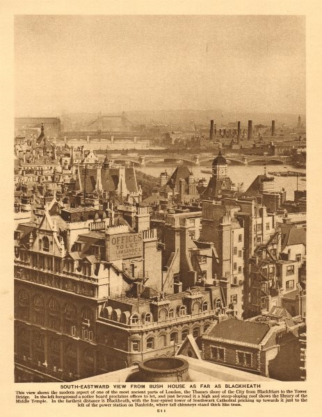 Associate Product South-eastward view from Bush House. Tower Bridge. Bankside 1926 old print