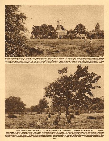 Associate Product Children's playgrounds. Wimbledon Common windmill & Barnes Common 1926 print