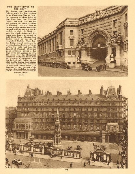 Associate Product Waterloo Station entrance. Charing Cross station & hotel 1926 old print