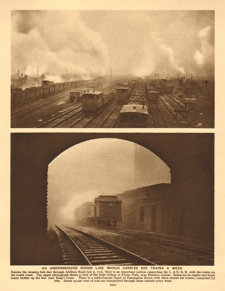 Associate Product Ferme Park sidings, Hornsey. Engine & horse boxes near King's Cross 1926 print