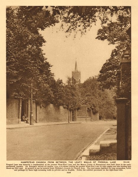 Associate Product Hampstead church from between the leafy walls of Frognal Lane 1926 old print