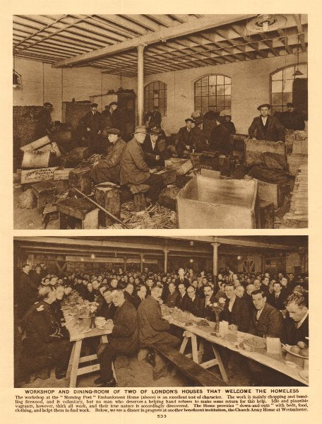Associate Product London homeless. Morning Post Embankment Home. Westminster Church Army Home 1926