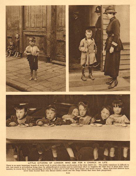 Associate Product London East End slum children 1926 old vintage print picture