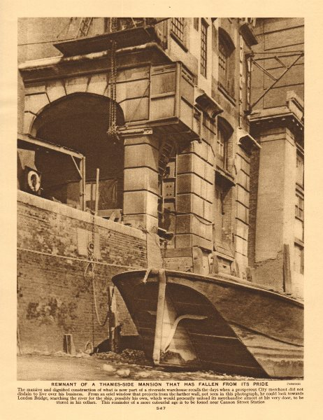 Associate Product Remnant of a Thames-side mansion near Cannon Street Station 1926 old print