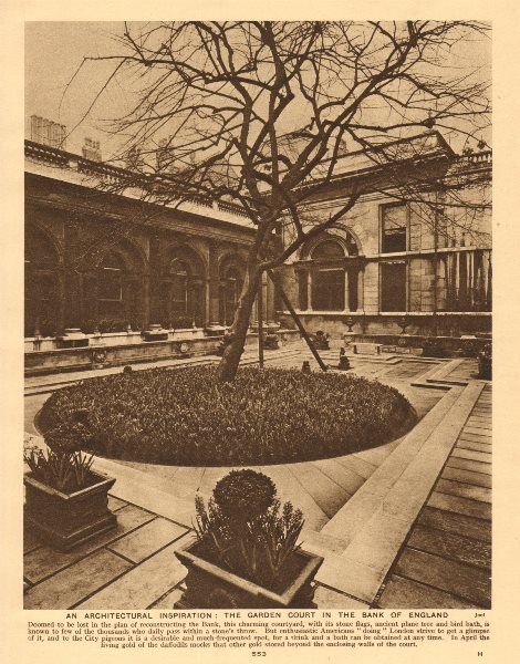 Associate Product The garden court in the Bank of England 1926 old vintage print picture