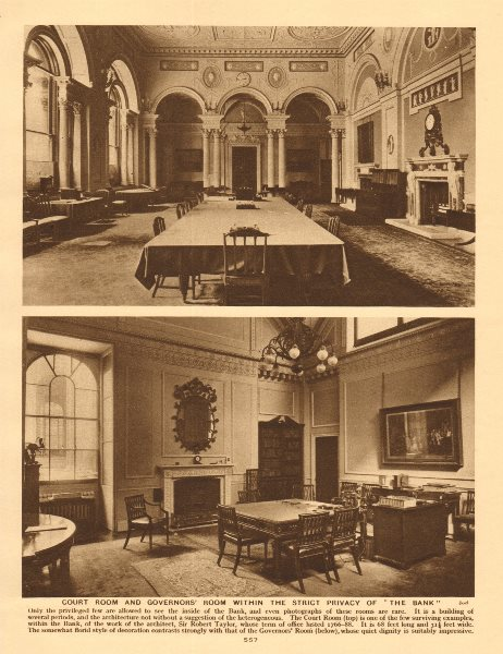 Associate Product Court Room and Governors' Room within The Bank of England 1926 old print