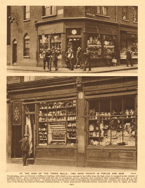 Associate Product London pawnbrokers in Popular High Street and Bow 1926 old vintage print