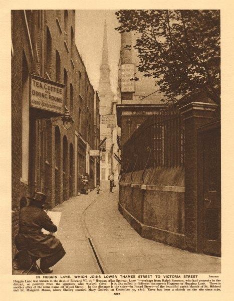 Associate Product Huggin Lane, now Huggin Hill. St Mildred, Bread Street 1926 old vintage print