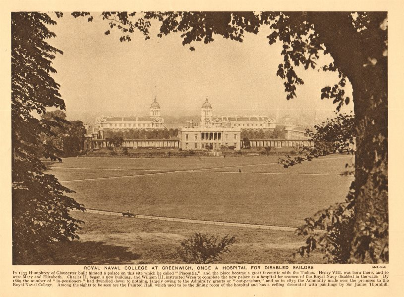 Associate Product Royal Naval College at Greenwich & Greenwich Park 1926 old vintage print