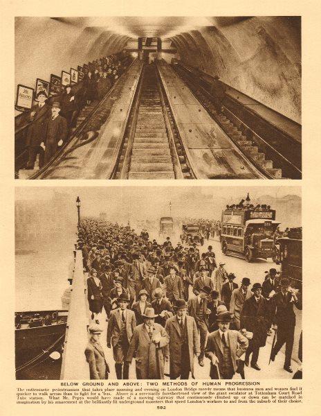 Associate Product Tottenham Court Road tube station escalator. Pedestrians on London Bridge 1926
