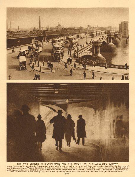 Associate Product Blackfriars road and railway bridges. Trams. Cars. Subway 1926 old print