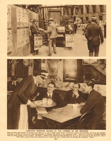 Associate Product London newspaper vendors Evening Standard & Evening News. Coffee shop 1926