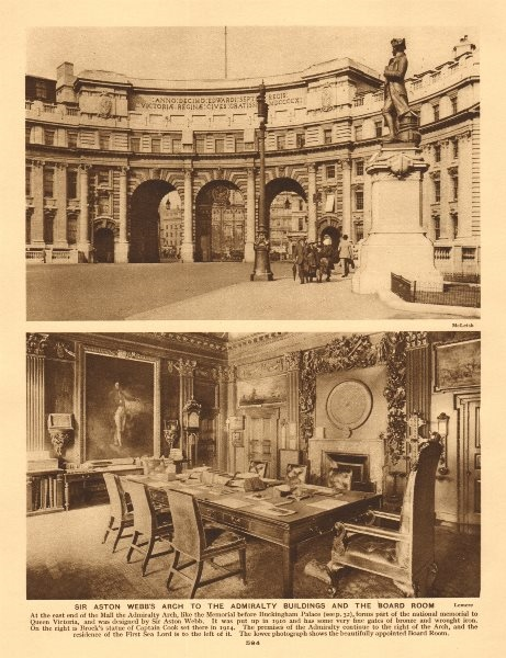 Associate Product Sir Aston Webb's arch to the Admiralty buildings and the board room 1926 print