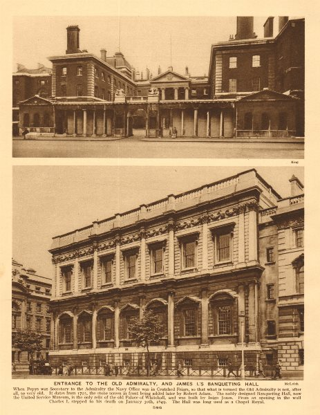 Associate Product Old Admiralty, 26 Whitehall (Thomas Ripley). Now DFID. The Banqueting Hall 1926