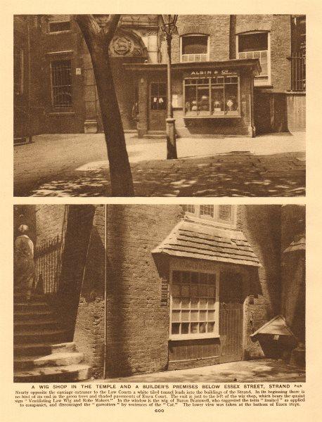 A Temple wig shop & a builder's premises below Essex Street, Strand 1926 print