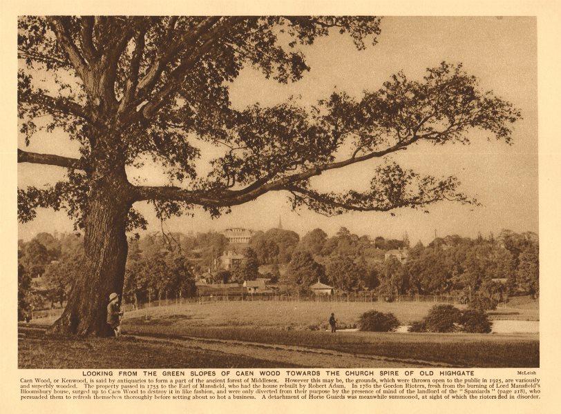 Associate Product View from Kenwood towards Highgate. Ladies Bathing Lake 1926 old vintage print