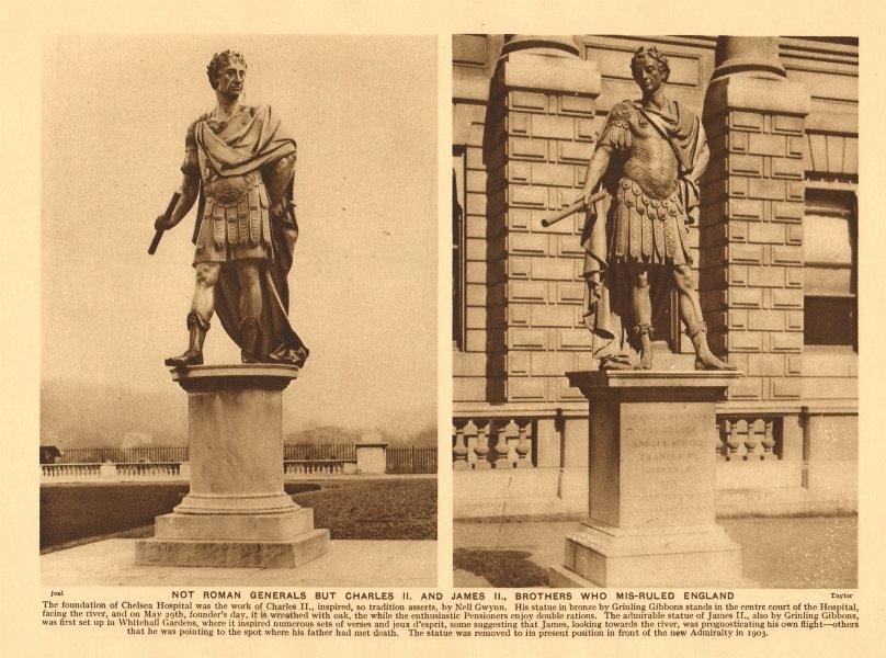 Associate Product King Charles II & James III statues. Chelsea Hospital & Admiralty 1926 print