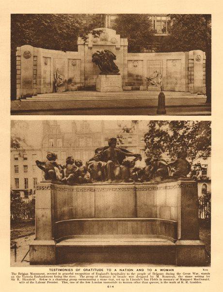 Associate Product Belgian Monument Victoria Embankment.Margaret MacDonald Lincolns Inn Fields 1926