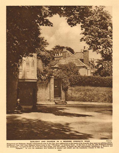Associate Product Southwood Lane, Highgate. Almshouses 1926 old vintage print picture