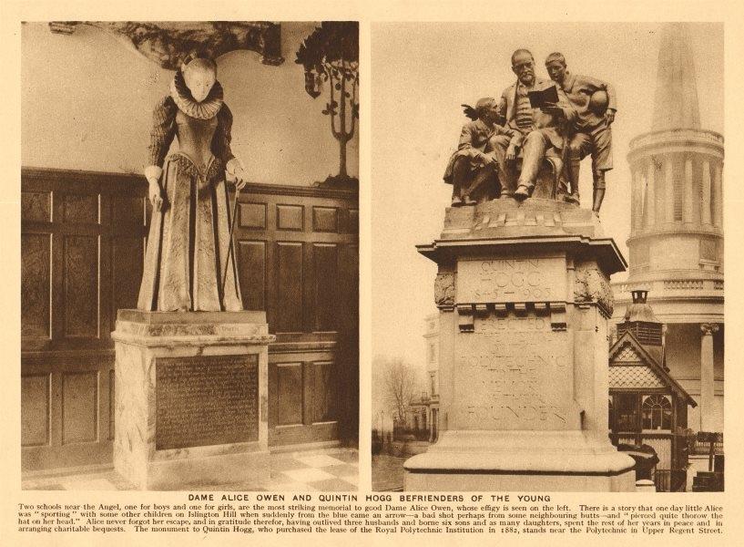 Associate Product Dame Alice Owen. Quintin Hogg monument, Regent Street 1926 old vintage print
