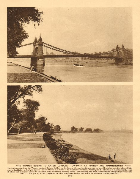Associate Product The Thames tow-path at Putney Bridge & Hammersmith 1926 old vintage print