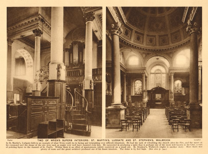 Associate Product Wren's church interiors. St Martin's Ludgate. St Stephen's Walbrook 1926 print