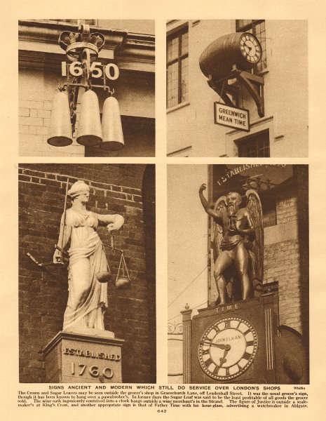 Associate Product London shop signs. Grocer Wine Merchant Scale-maker Watchmaker 1926 old print