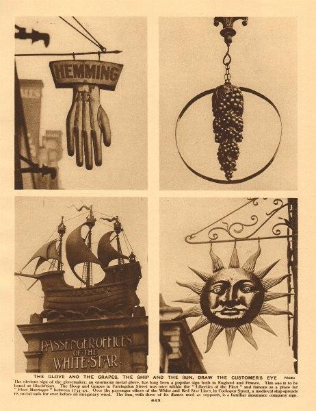 Associate Product London shop signs. Glovemaker. White Star Line. Sun Insurance.Hoop & Grapes 1926