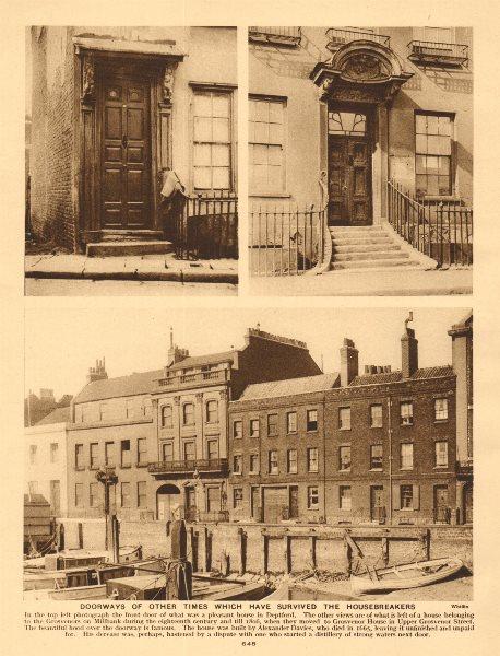 Associate Product London doorways. Deptford & Peterborough House, Millbank (Grosvenor) 1926
