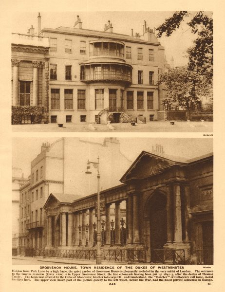 Associate Product Grosvenor House, Duke of Westminster residence. Picture gallery 1926 old print