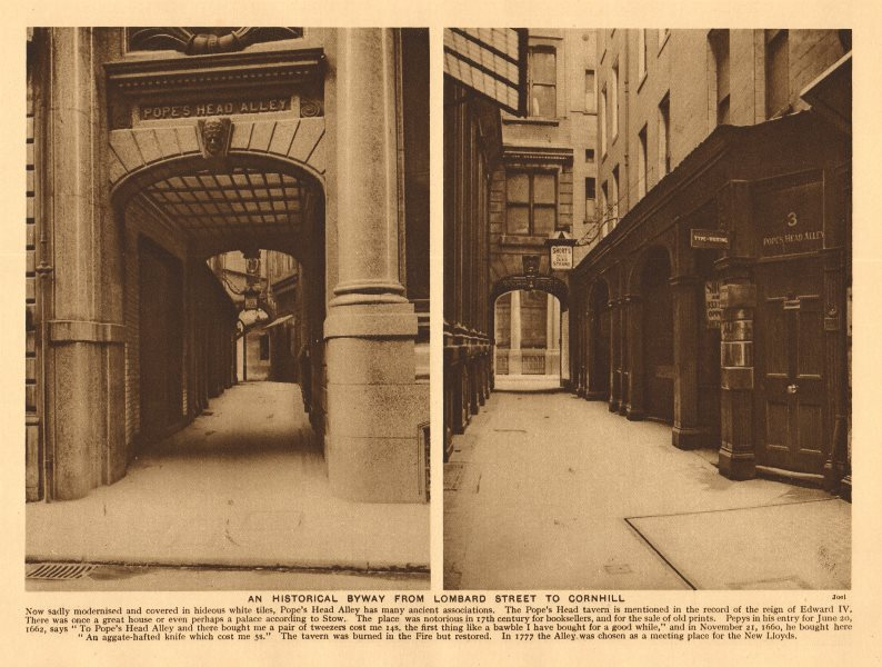Associate Product Pope's Head Alley (Lombard Street to Cornhill). 1926 old vintage print picture
