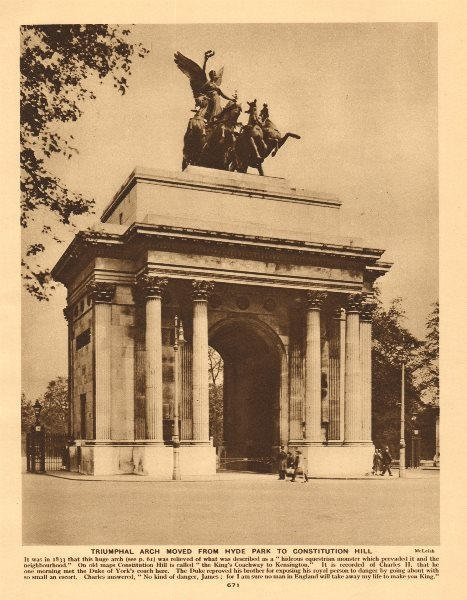 Associate Product Triumphal arch moved from Hyde Park to Constitution Hill 1926 old print