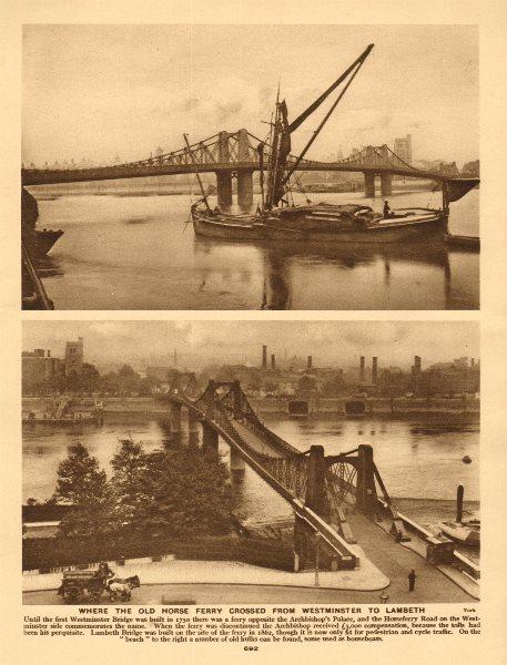 Associate Product The original Lambeth suspension bridge at Horse Ferry. Westminster 1926 print