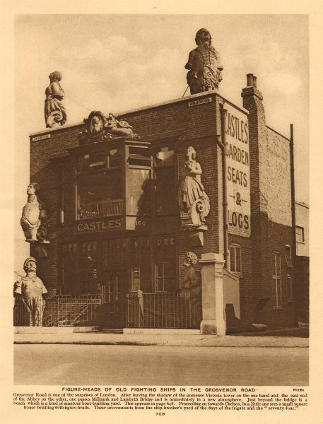 Figure-heads of old fighting ships in the Grosvenor Road 1926 print