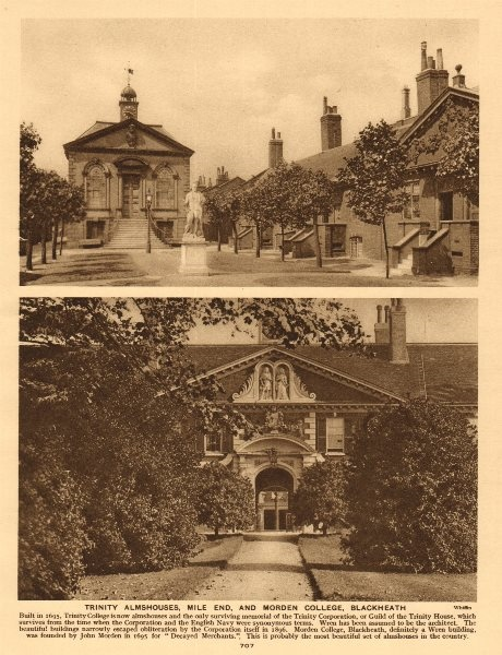 Associate Product Trinity Almshouses, Mile End, and Morden College, Blackheath 1926 old print