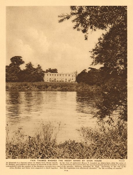 Associate Product Fair Thames washes the reedy banks by Syon House 1926 old vintage print