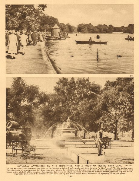 Associate Product Hyde Park. Serpentine boating lake. Fountain beside Park Lane 1926 old print