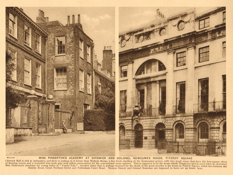 Associate Product Walpole House, Chiswick Mall. Colonel Newcome's House, Fitzroy Square 1926