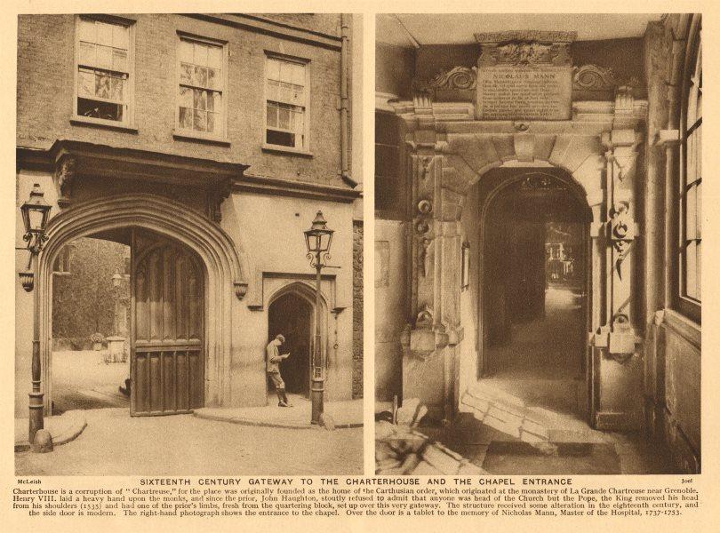 Associate Product Sixteenth century gateway to the Charterhouse & the chapel entrance 1926 print