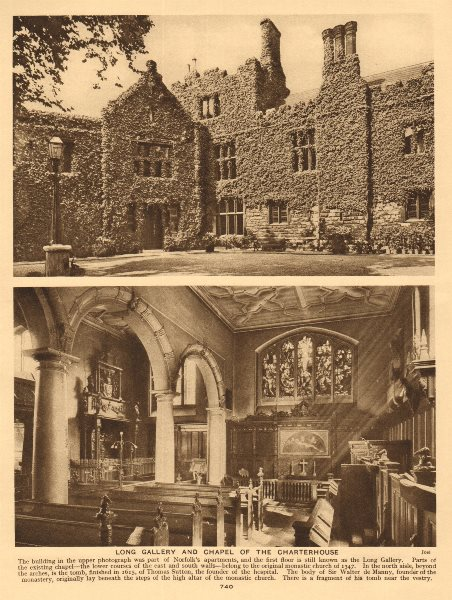 Associate Product Long Gallery and chapel of the Charterhouse 1926 old vintage print picture