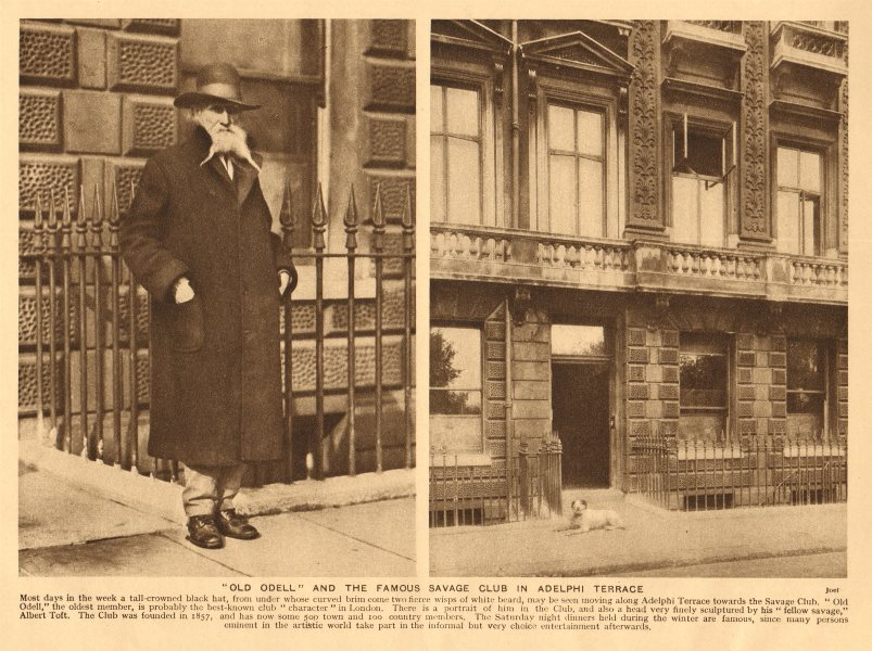 Associate Product Old Odell, oldest member of the Savage Club in Adelphi Terrace 1926 print