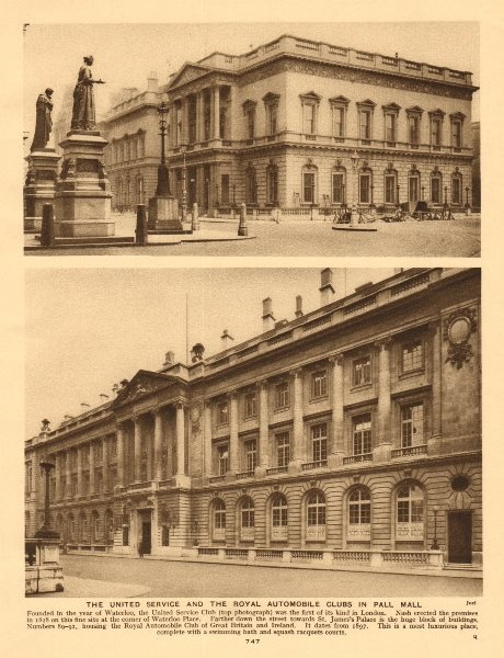 The United Service Club and the Royal Automobile Club in Pall Mall 1926 print