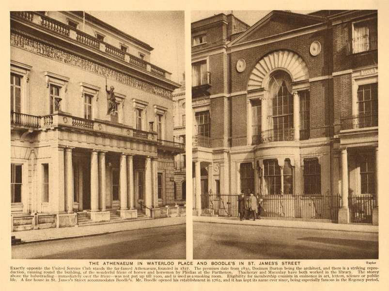 Associate Product The Athenaeum in Waterloo Place and Boodle's in St. James's Street 1926 print