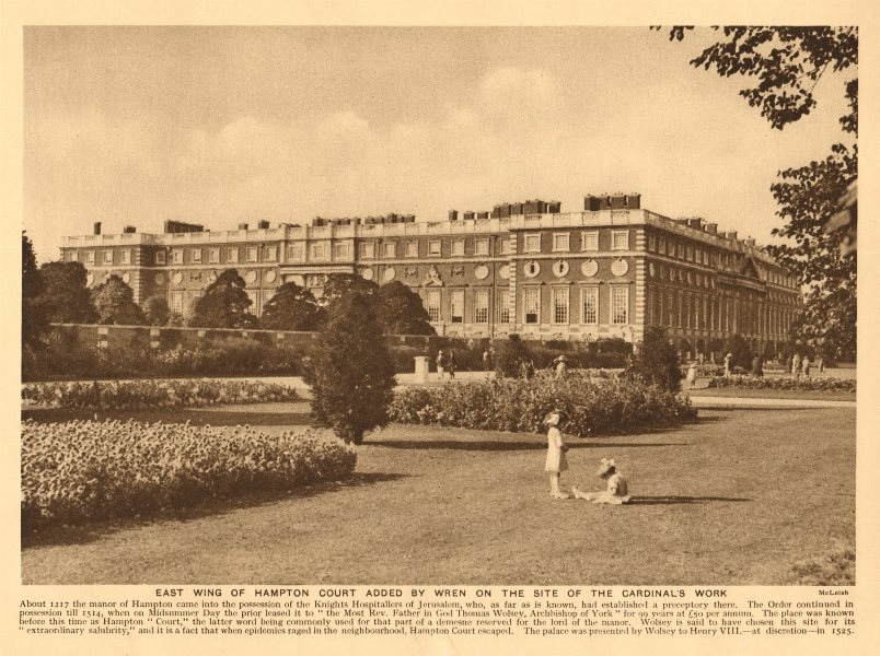 Associate Product East Wing of Hampton Court added by Sir Christopher Wren 1926 old print