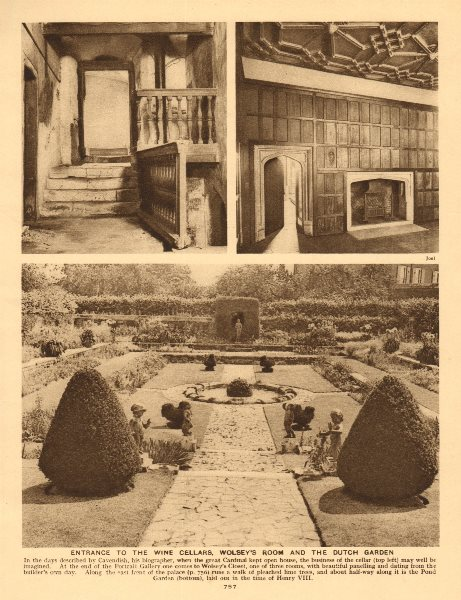 Associate Product Hampton Court. Wine cellars, Wolsey's room and the Dutch garden 1926 old print