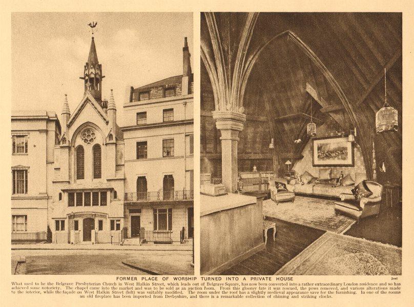 Associate Product Belgrave Presbyterian Church, West Halkin Street, Belgravia 1926 old print