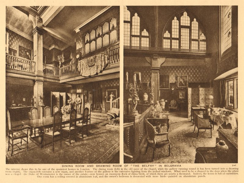 Associate Product The Belfry, Belgravia. Dining room & drawing room. Now Mossiman's 1926 print