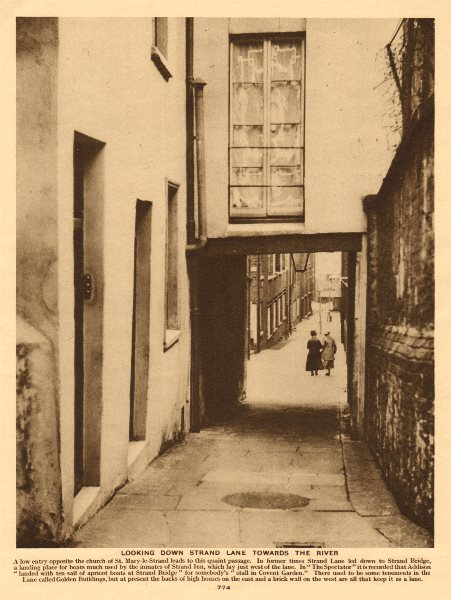Associate Product Looking down Strand Lane towards the river Thames 1926 old vintage print