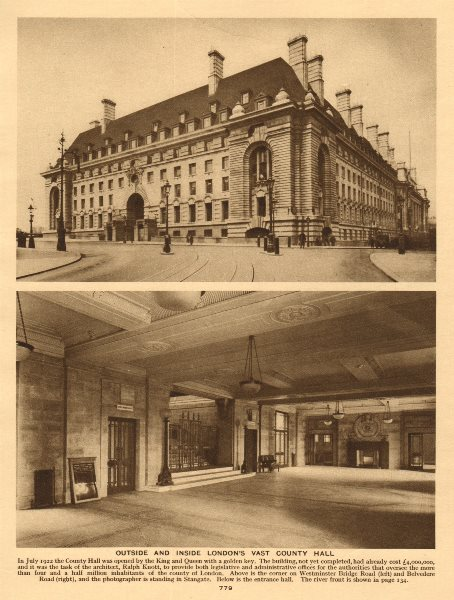 Associate Product Outside and inside London's vast County Hall 1926 old vintage print picture