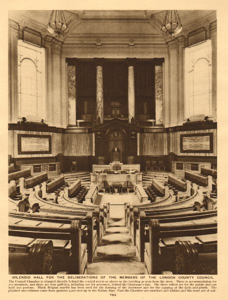 Associate Product County Hall Council Chamber. London County Council. GLC 1926 old vintage print